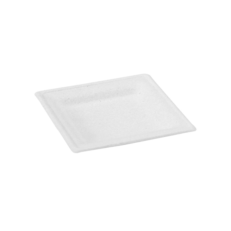 Square White Sugarcane Plate - 6.2 x 6.2 in