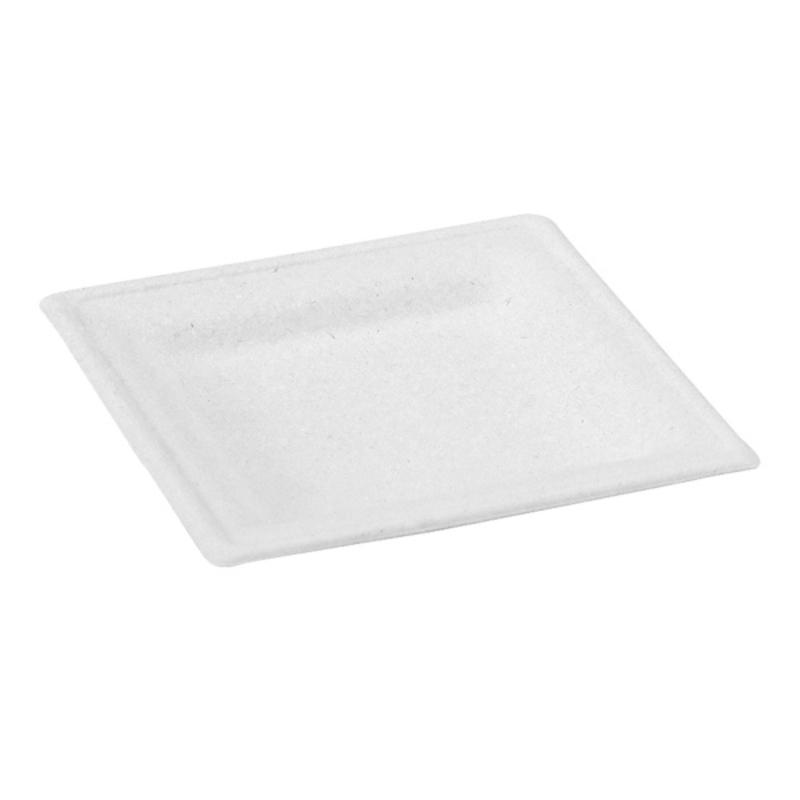 Square White Sugarcane Plate - 6.2 in.
