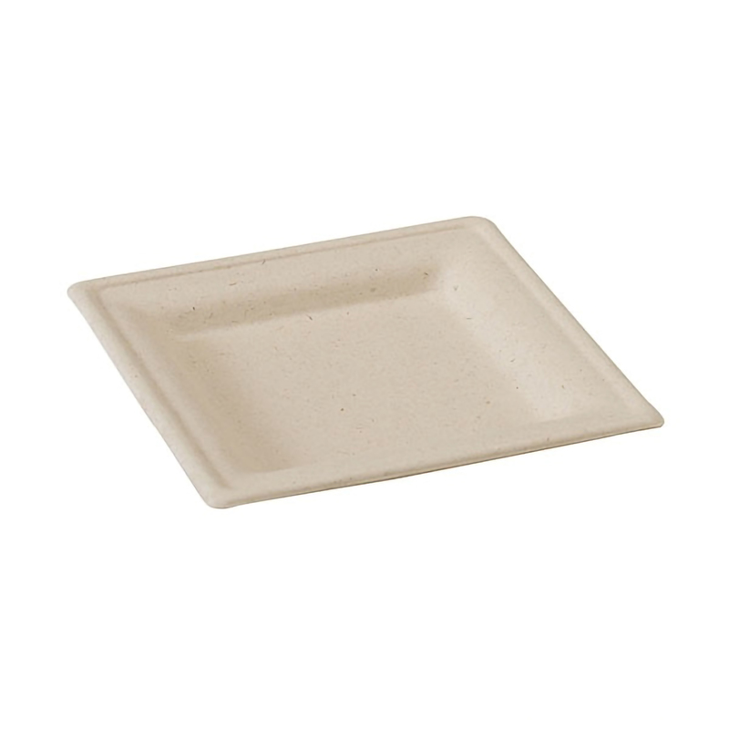 BROWN SQUARE SUGAR CANE PLATE 10.1 in. x 10.1in.
