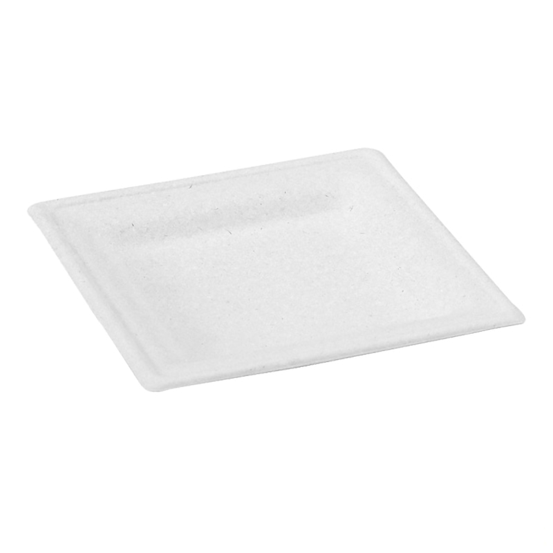 Sugarcane white square plate 10.2 x 10.2 in