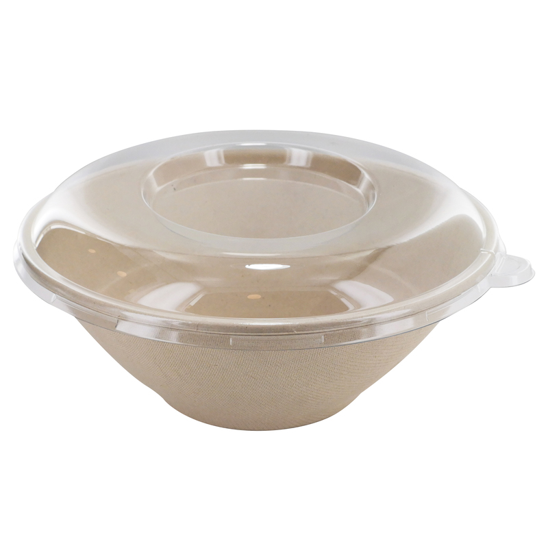 Clear PET Round Lid For Sugarcane Brown Pulp Round Bowl  - D: 7.7in