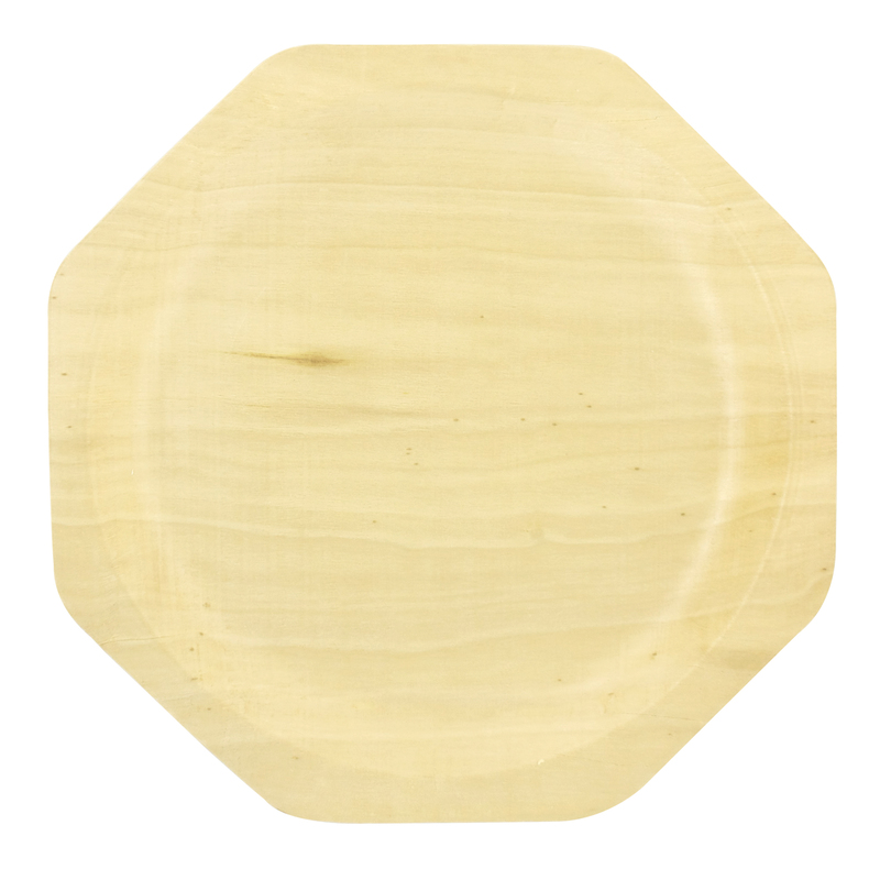 Scandinavia Octagonal Wooden Plate - 10 in