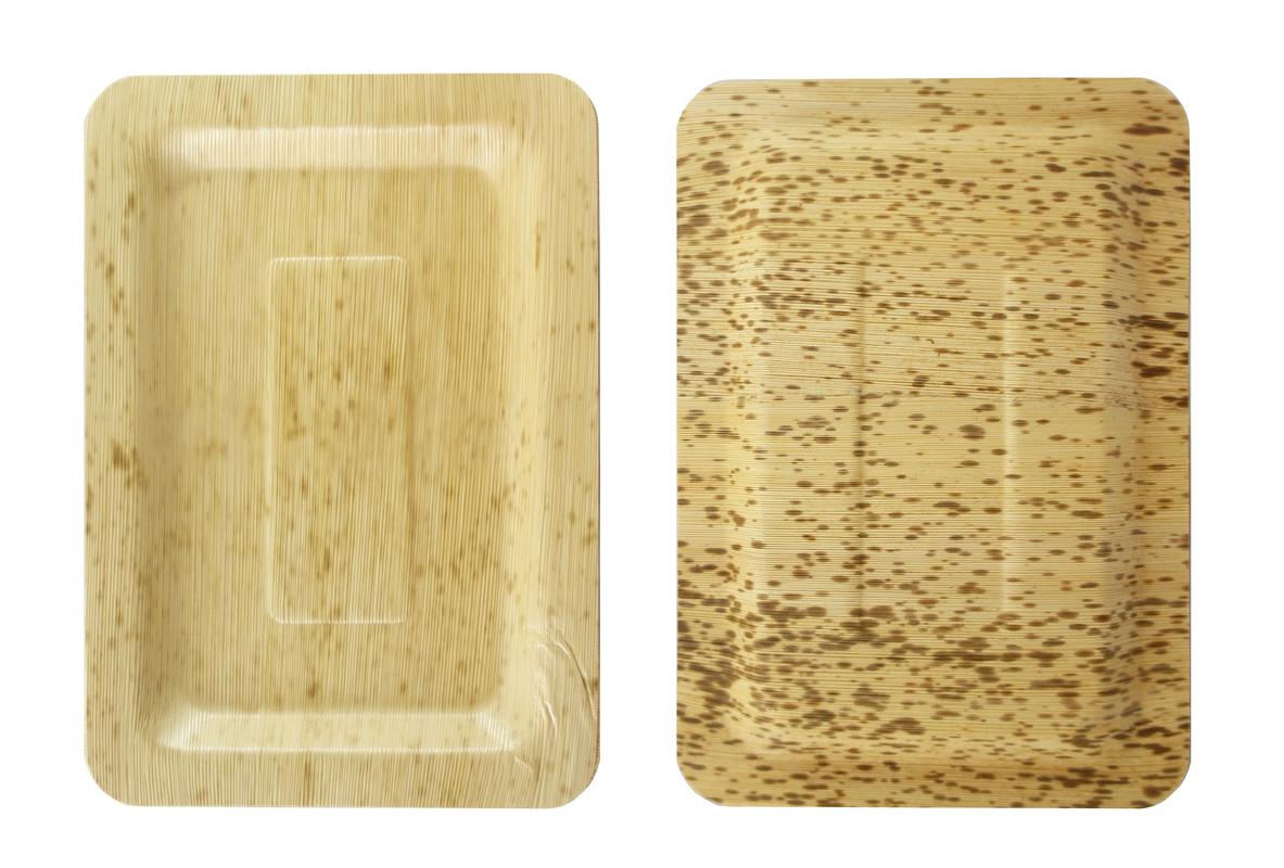 Rectangular Bamboo Leaf Plate 7.9 X 5.5 X 0.4 in
