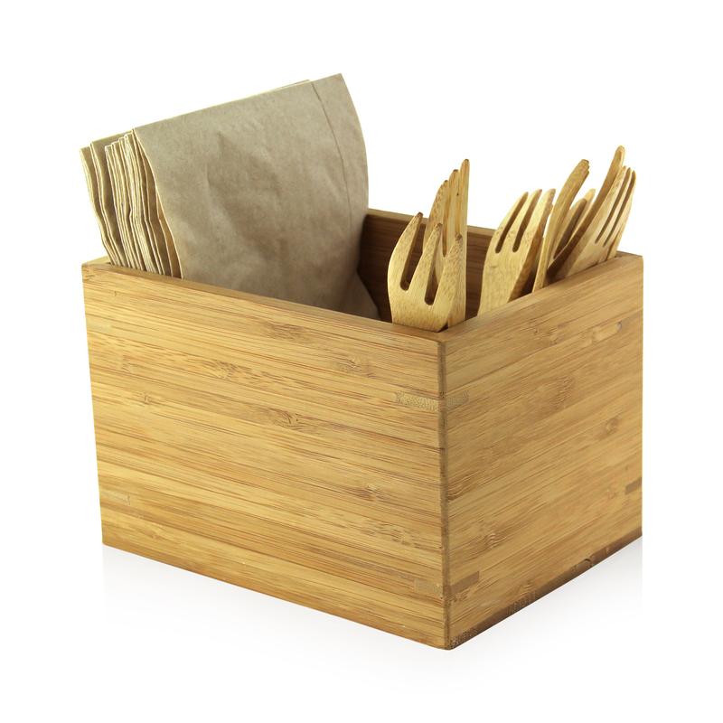 Bamboo Cutlery & Napkin Holder