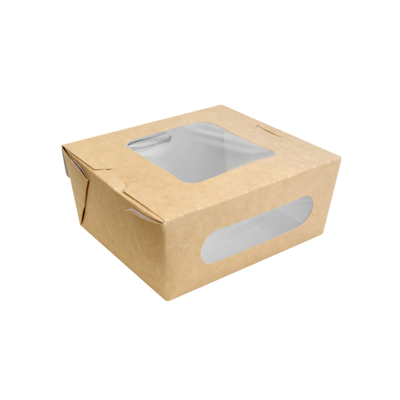 Kraft Paper Salad Box With 2 Windows - 5.9 x 5.3 x 2.5 in.