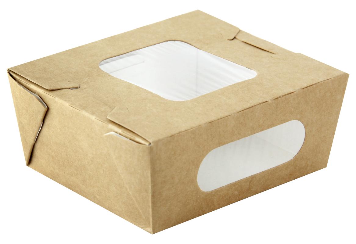 Easy Closing Kraft Compostable Salad Box With 2 Windows -37oz  L:5.85 x W:5.35 x H:2.65in