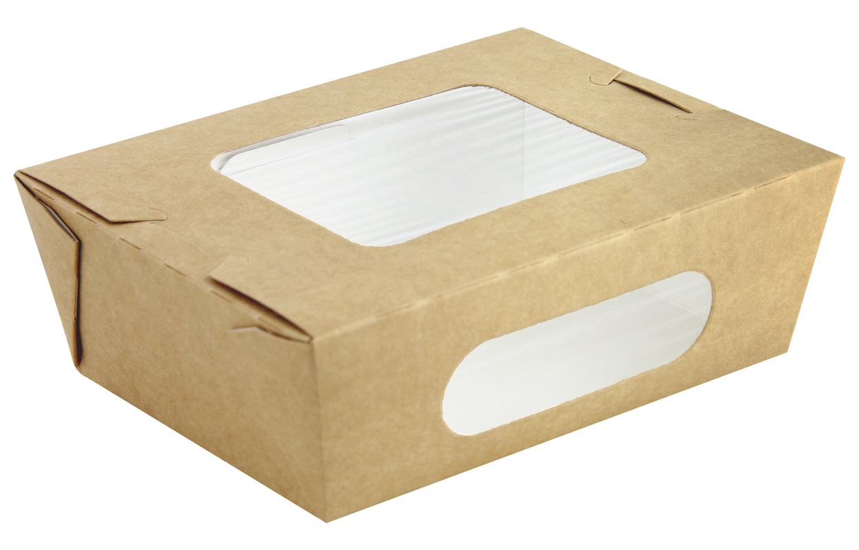 Easy Closing Kraft Compostable Salad Box with 2 Windows - 29 oz 6.1 x 4.7 x 2