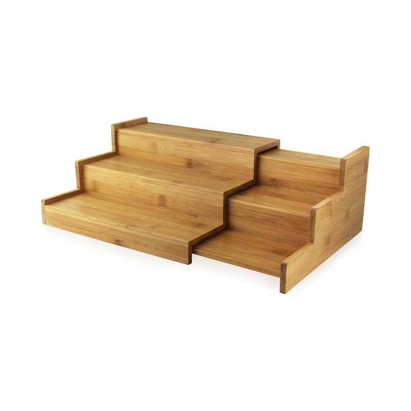 3 Level Sliding Bamboo Tray -  L:10.5 x W:9.1 x H:4.7in