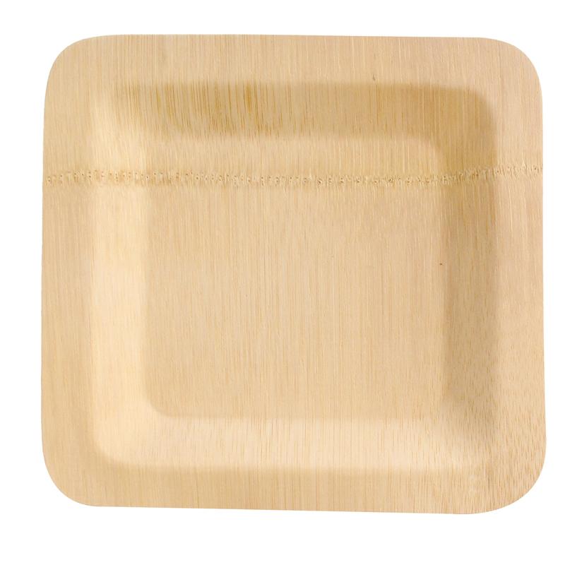Bamboo Veneer Square Plate -10in