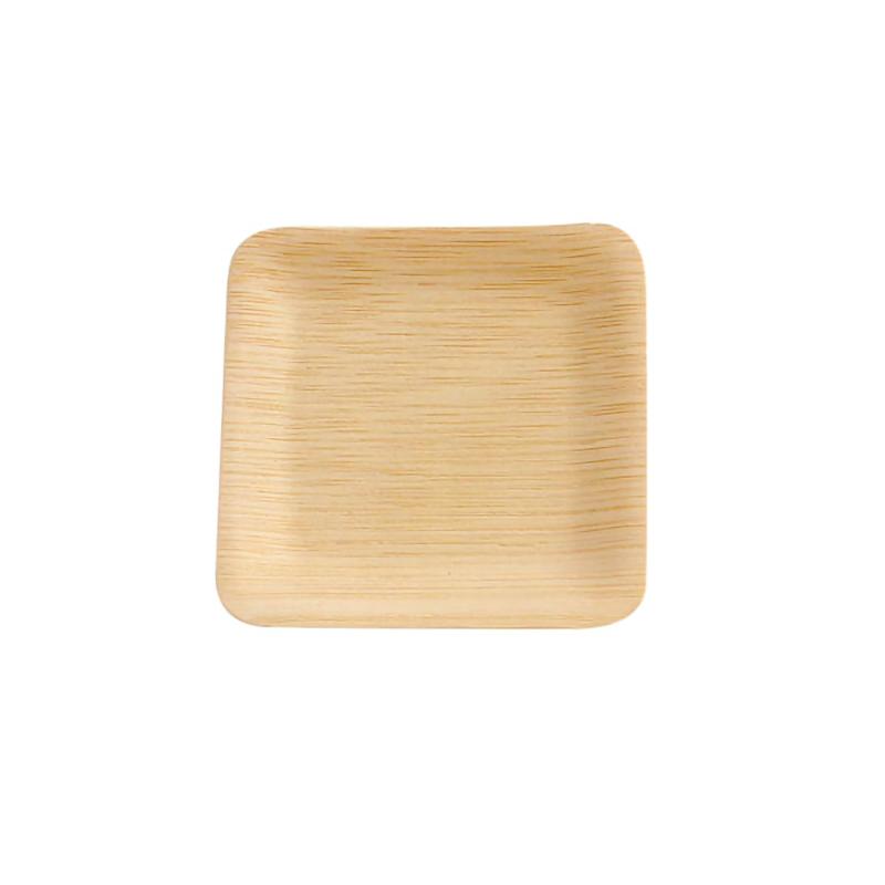 Bamboo Veneer Square Plate - 3.5in