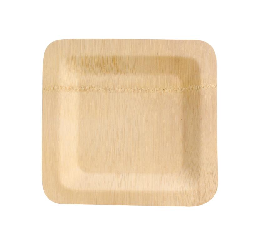 Bamboo Veneer Square Plate - 7in. x 7in.