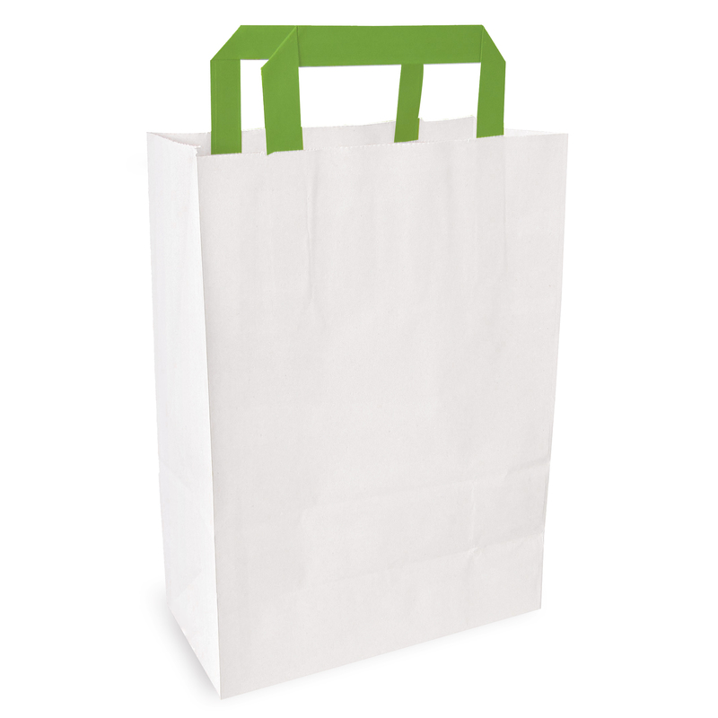 White Takeout Bag With Green Handles - 10.2 x 6.7 x 3.1 in.