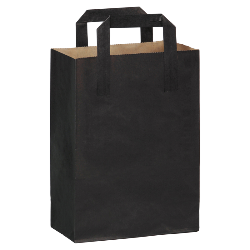 Black Paper Bag with Handle H: 11 in Gusset: 7.8 x 4 in
