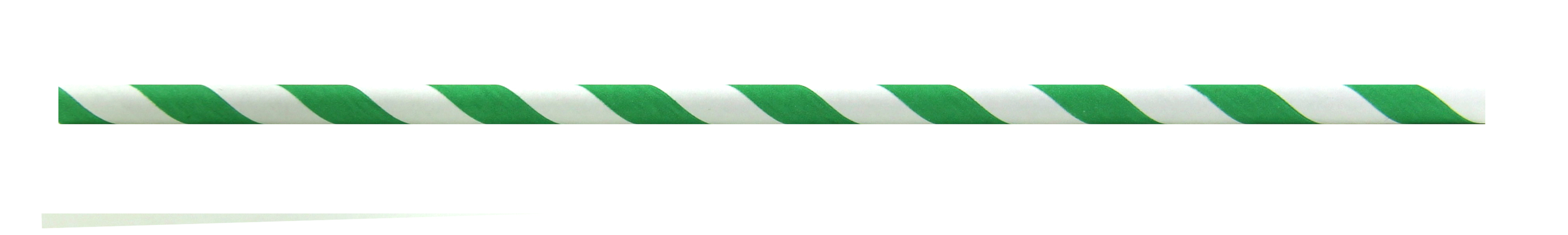 Durable Green & White Striped Cocktail Paper Straws - 5.7 Inches