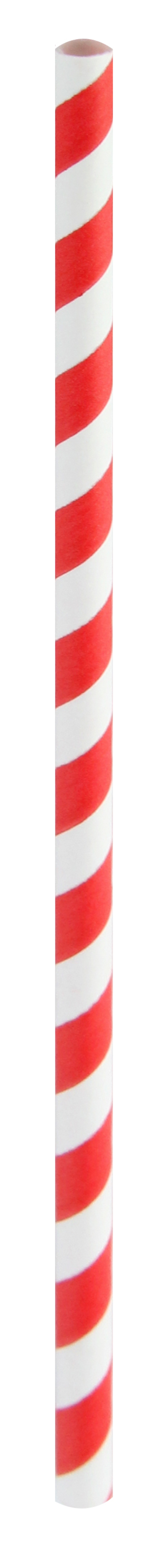 Durable Red Striped Cocktail Paper Straws - 5.7 Inches