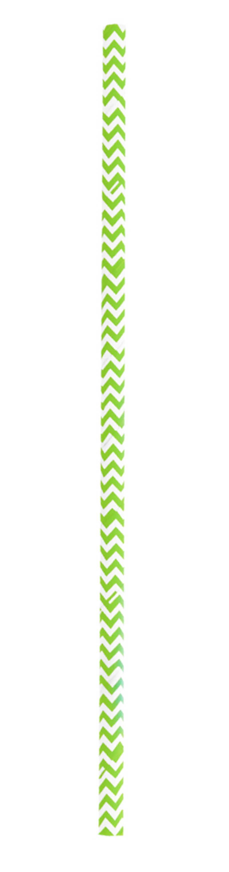 Durable Lime Green & White Chevron Design Paper Straws - 7.75 Inches