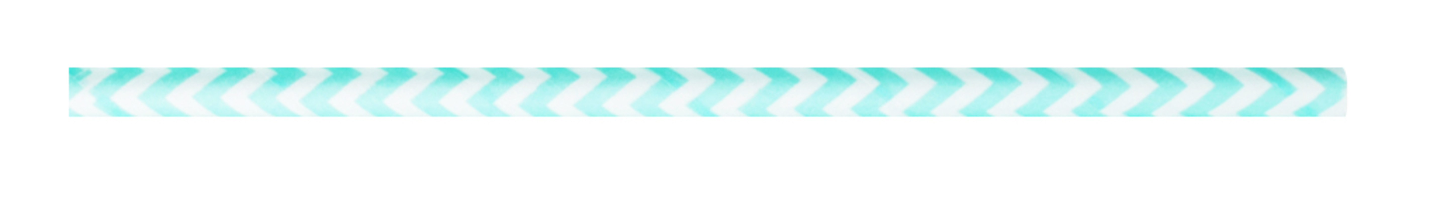 Durable Teal Blue & White Chevron Design Paper Straws - 7.75 Inches