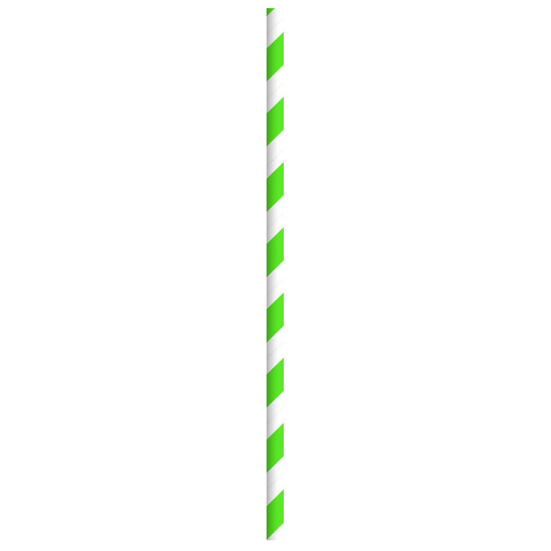 Durable Green & White Striped Paper Straws - Individually Wrapped - 7.75  Inches