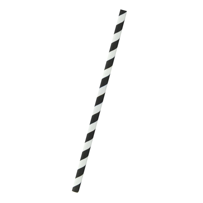 Durable Smoothie Paper Straws With White & Black Stripes - 7.75 Inches
