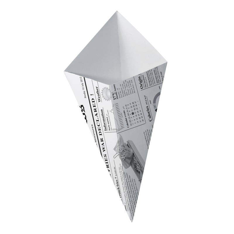 Sturdy Paper Cones With Newspaper Print - 6.3 in.
