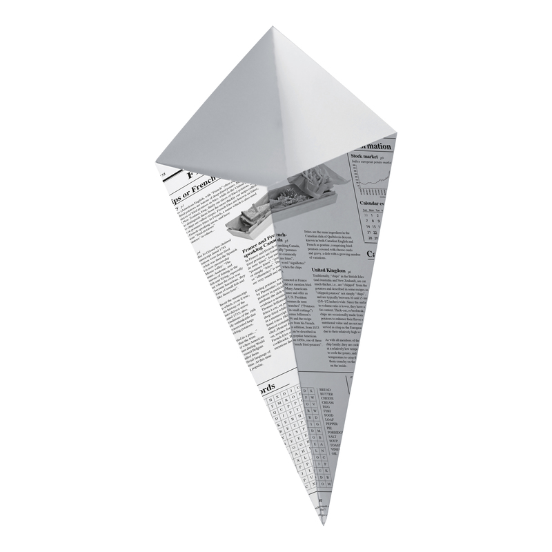 Sturdy Paper Cones With Newspaper Print - 6.9 in.