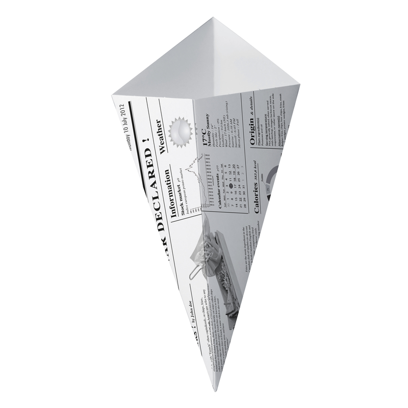 Sturdy Paper Cones With Newspaper Print - 7.7 in.