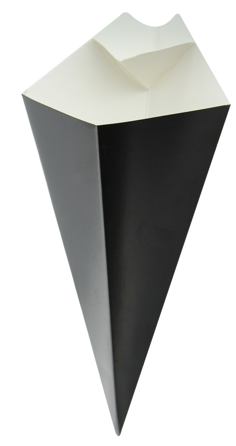 Black Cone With Built-In Sauce Cup - 7.68 in.