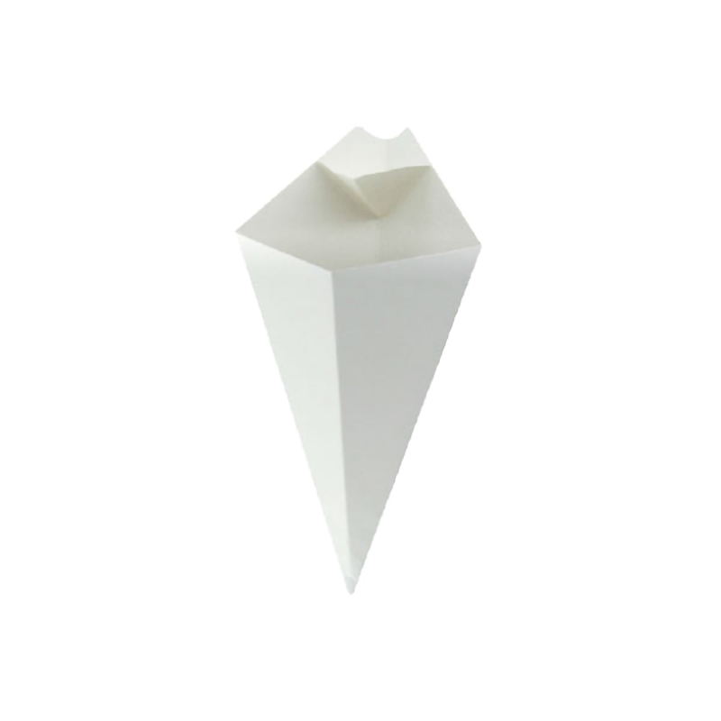 White Paper Cone With Built-In Sauce Cup - 7.6 in.