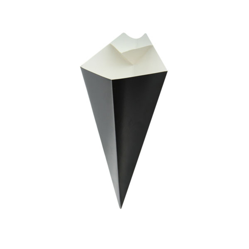 Black Cone With Built-In Sauce Cup - 11 in.