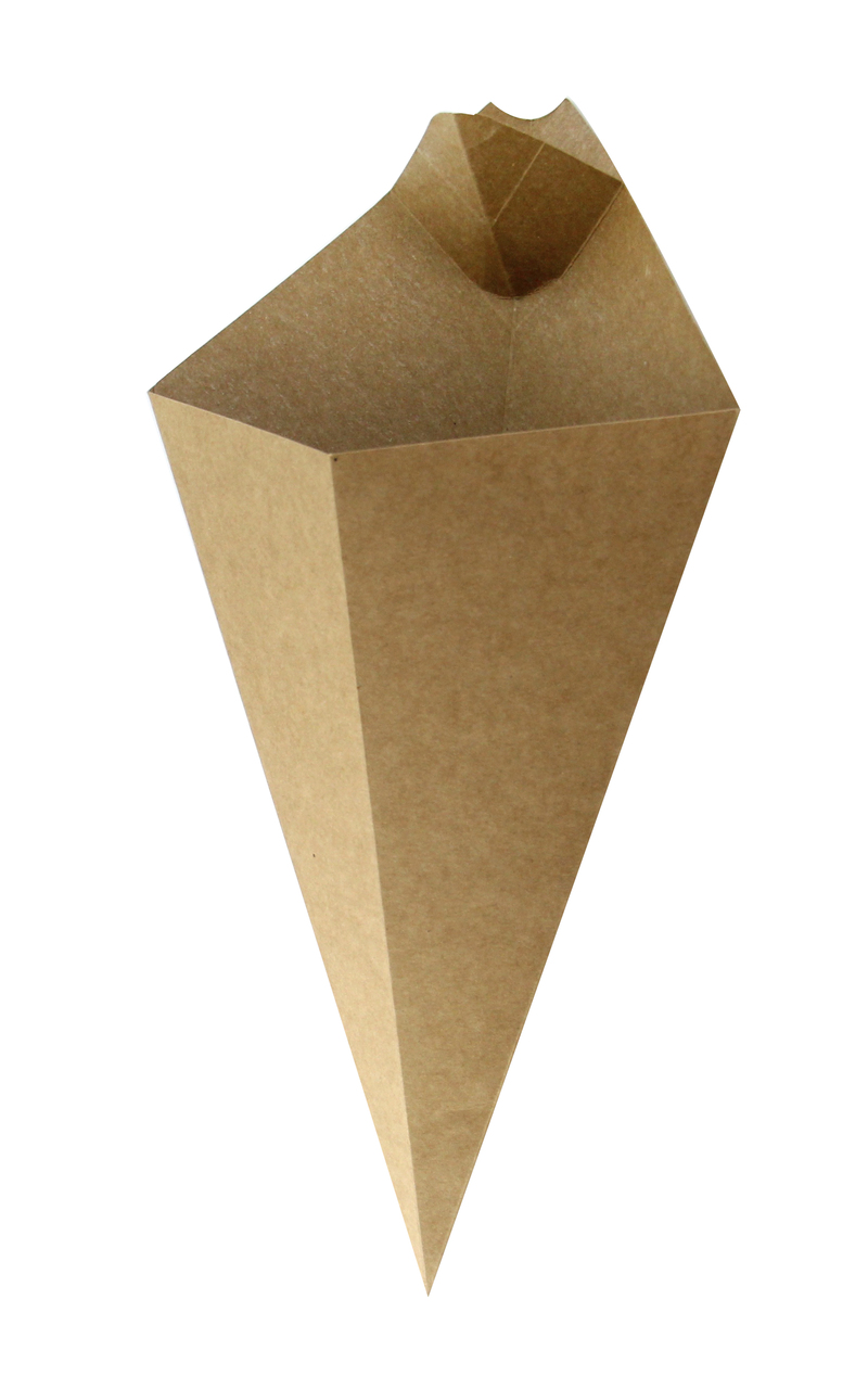 Kraft Paper Cone With Built-In Sauce Cup - 11 in.