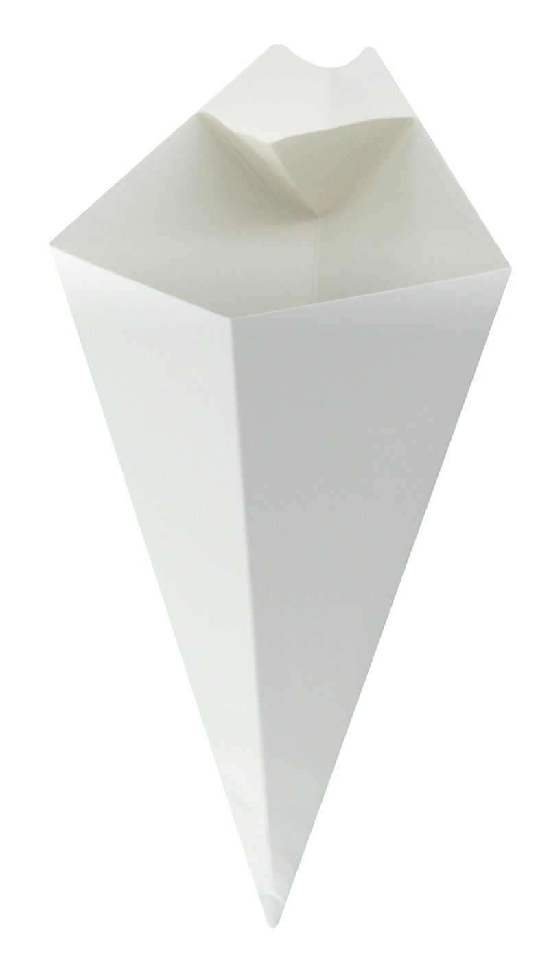 White Paper Cone With Built-In Sauce Cup - 11 in.