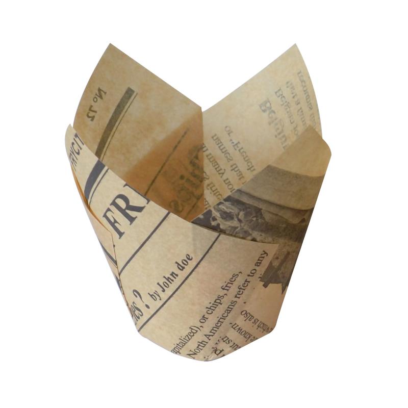 Newspaper Print Tulip Baking Cups - 5oz