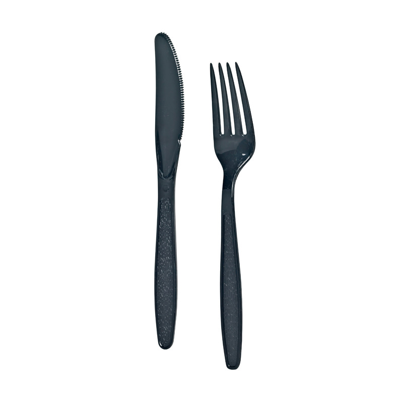 Black Cutlery Set 3 In 1 (Knife, Fork, Napkin) -  L:9.25 x W:2.7in