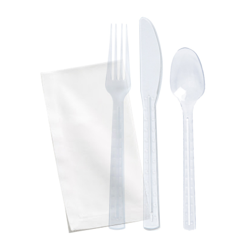 Clear First Class Kit 4 In 1 (Knife, Fork, Spoon, Napkin) -  L:7.55 x W:1.57in