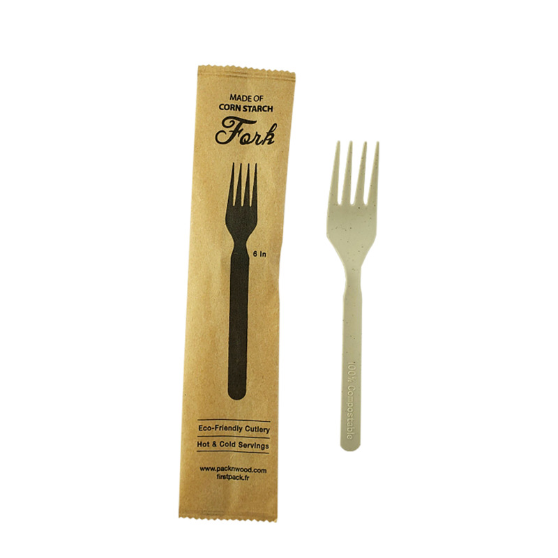 Bamboo Fiber+PLA Fork Individually Wrapped In Paper Wrapper - 6in