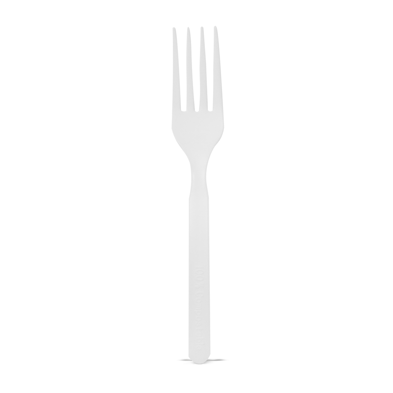 Compostable & Heat Proof Corn White Fork -  L:5.85in