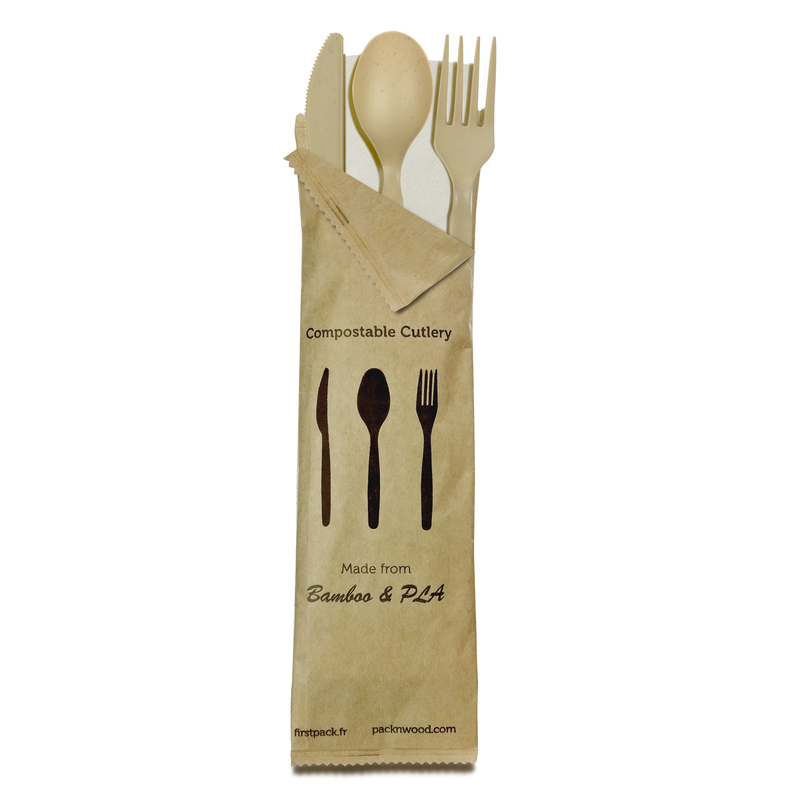 Compostable Bamboo Fiber 4 In 1 Cutlery Kit With Kraft Bag (Knife, Fork, Spoon, Napkin) -  L:8.95 x W:2.6in