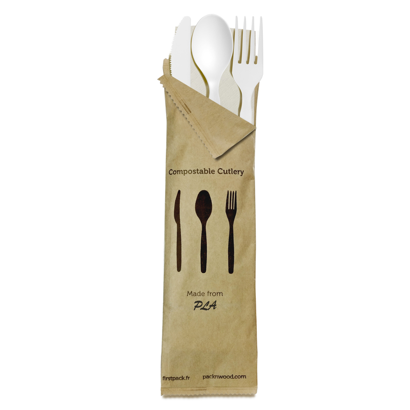 Compostable White 4 In 1 Cutlery Kit With Kraft Bag (Knife, Fork, Spoon, Napkin) -  L:8.95 x W:2.6in