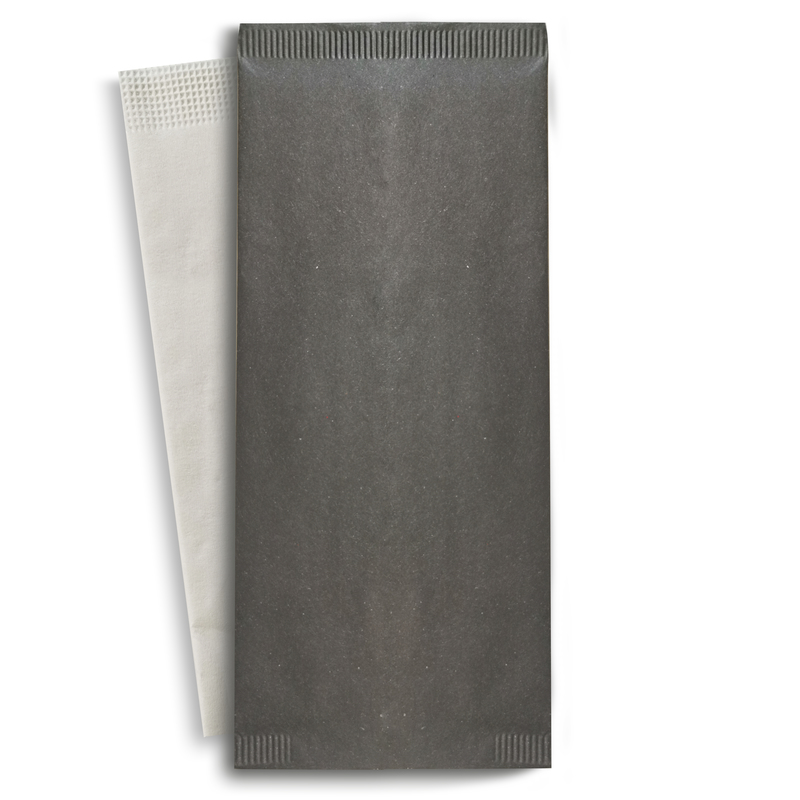 Black Cutlery Paper Bag With a White Napkin - 4.3 in x 10 in
