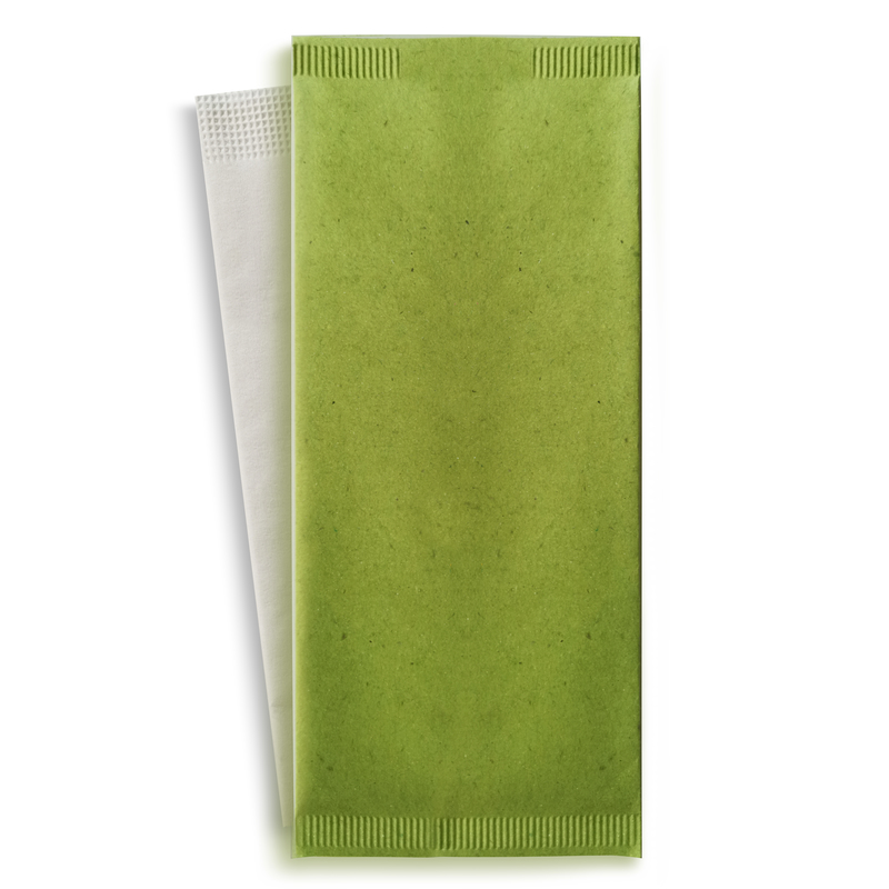 Green Cutlery Paper Bag With a White Napkin - 4.3 in x 10 in