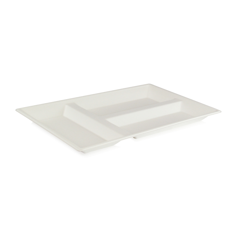Eco-Design White Sugarcane Compartment Tray -  L:15.9 x W:10.75 x H:1.25in