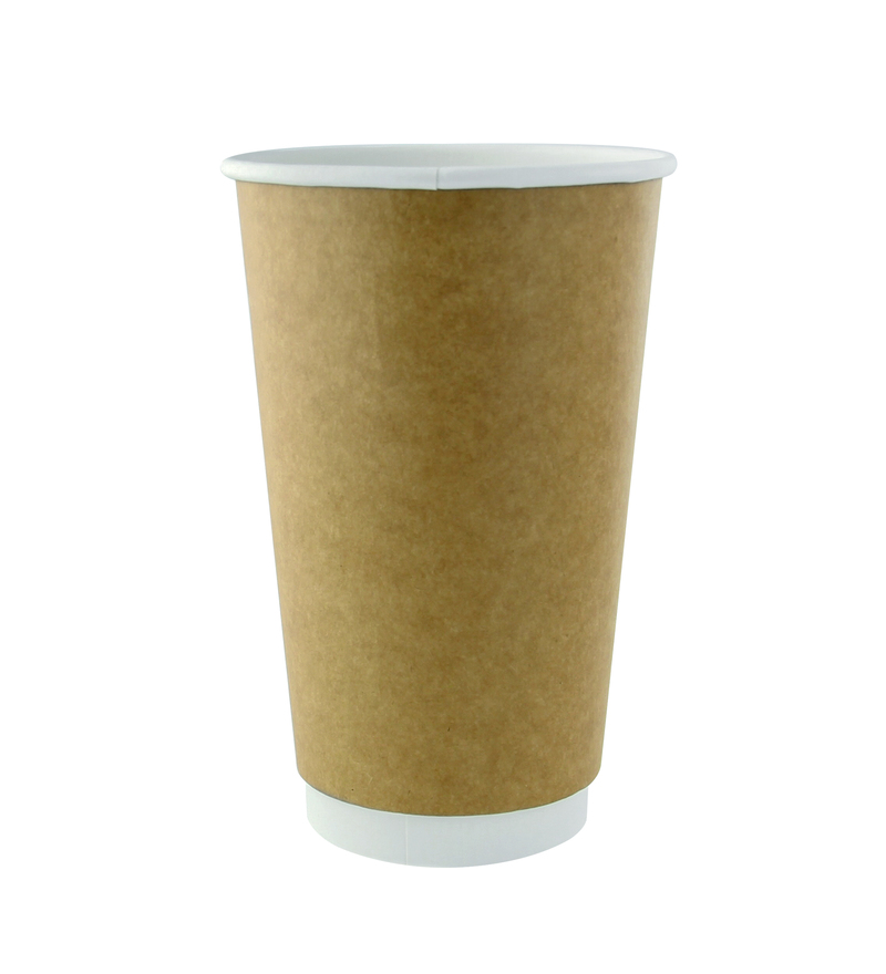 Kraft Double Wall Compostable Paper Cups - 16oz