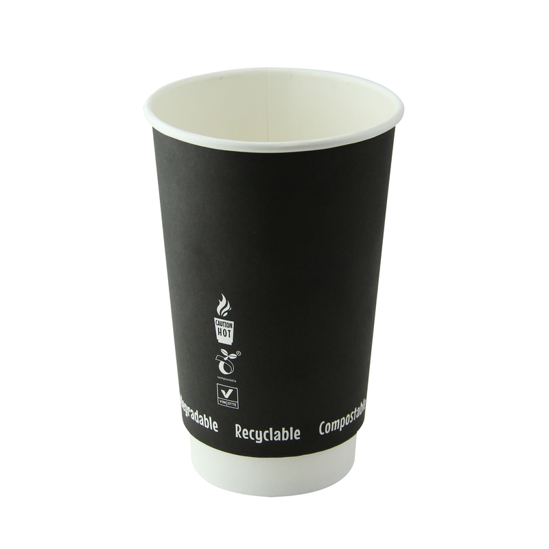 Double Wall Black Compostable Paper Cups - 16 oz Dia: 3.5'' H : 5.4''