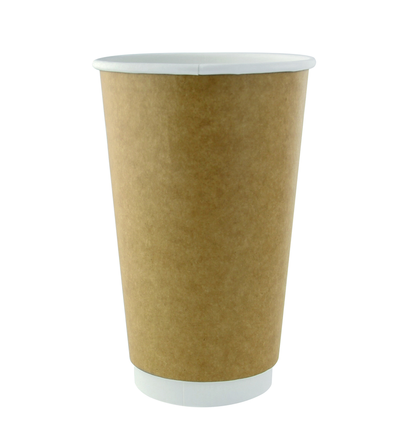 Kraft Double Wall Compostable Paper Cups - 20oz