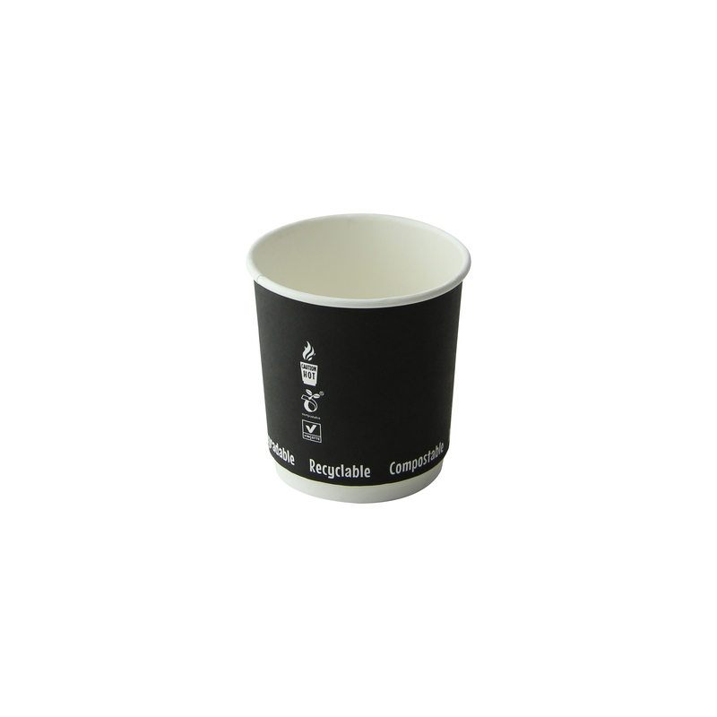 Double Wall Black Compostable Paper Cups - 4 oz Dia: 2.4'' H: 2.4''