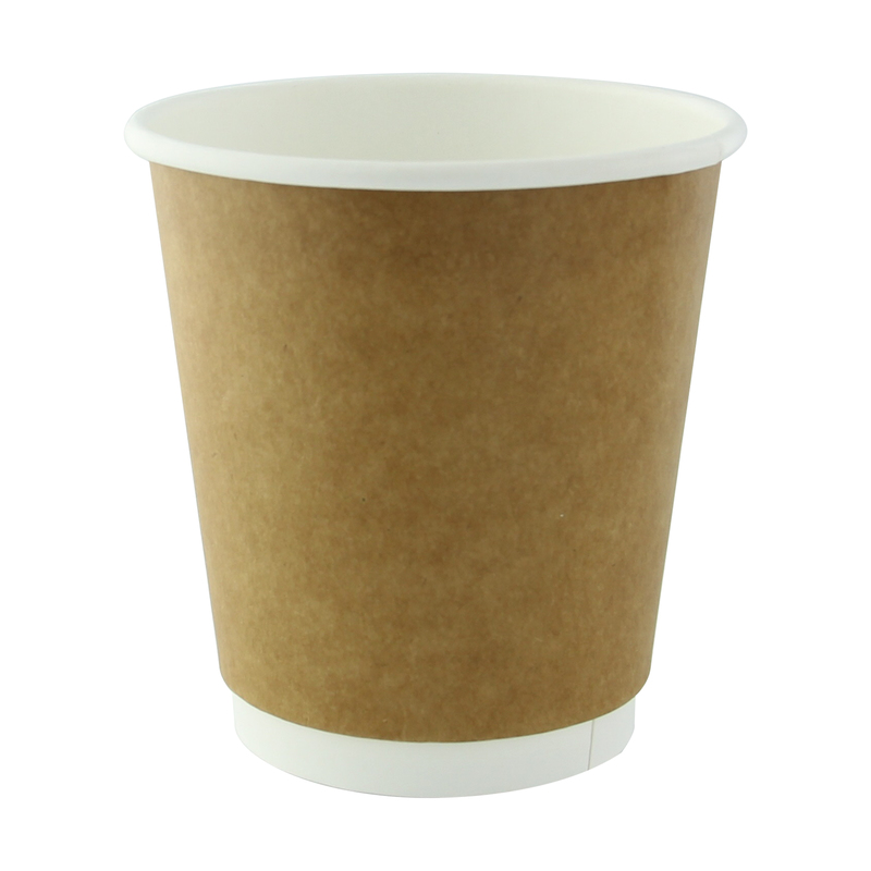Kraft Double Wall Compostable Paper Cups - 8oz