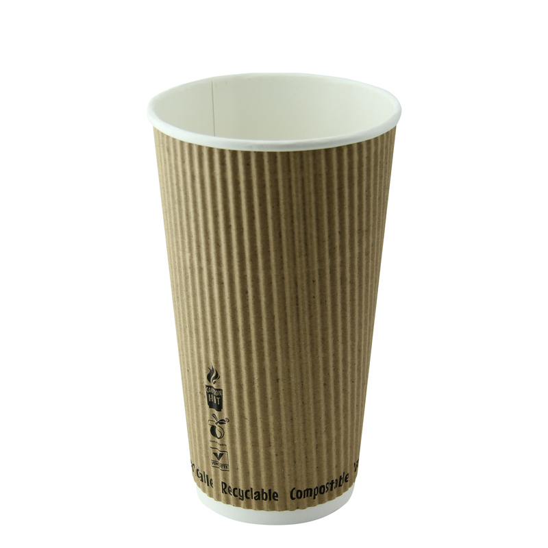 Compostable Rippled Kraft Cups - 20oz Dia:3.5in H:6.1in