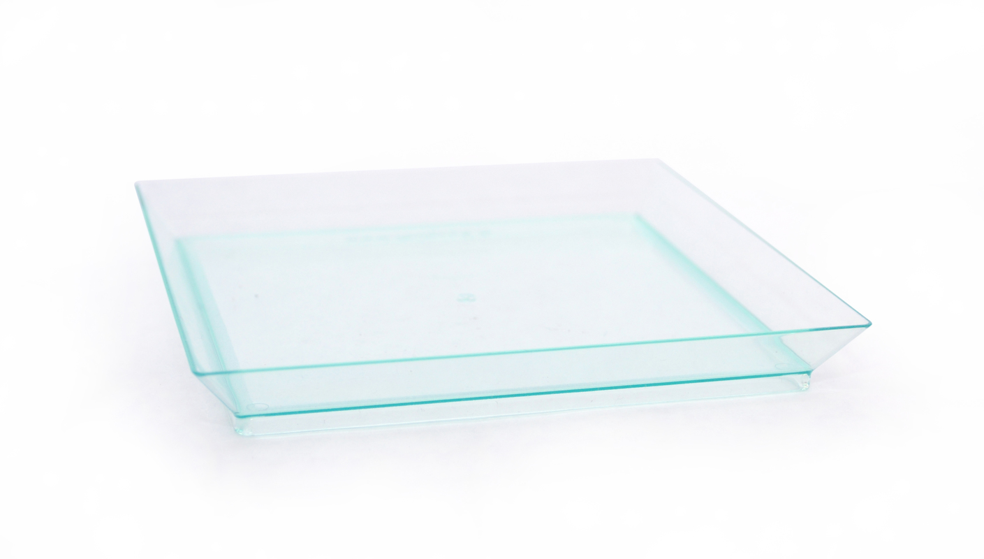 Square Transparent Green Klarity Dish - 5.1 in.