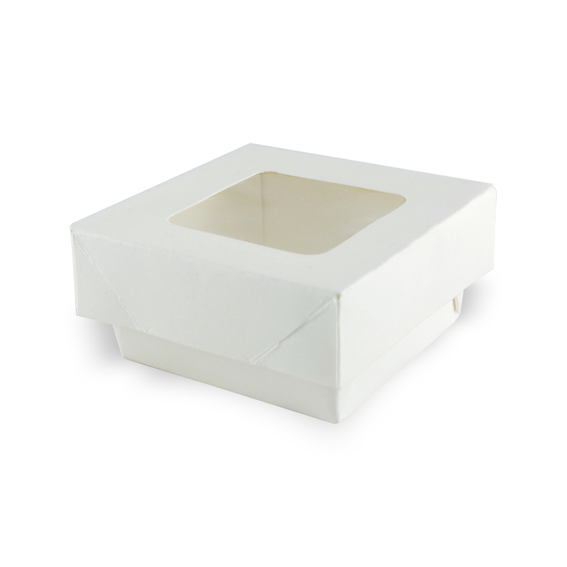 Small Square White Kray Box With Window - 2.8 x 2.8 in.