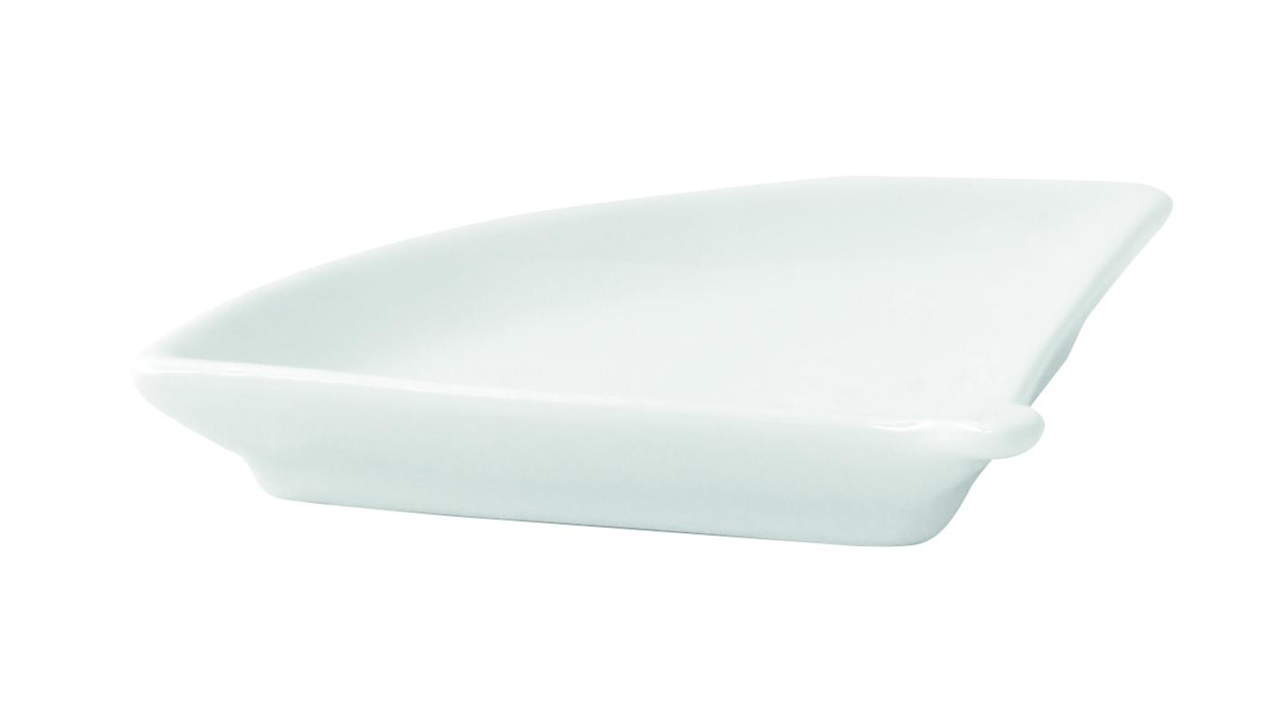 Mini White Porcelain Fan-Shaped Dish 3.9 x 3.1 x 0.6